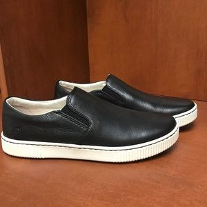 Born black leather slip-on flat.